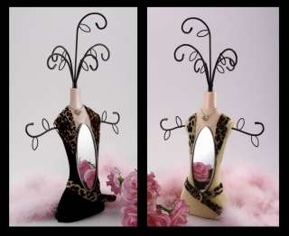 13.5 Mirrored Jewelry Holder/Stand Suede Leather Fur