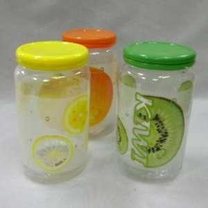 Plastic Jar Fruit Design 3 Assorted Case Pack 48   787727