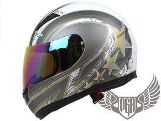 Black Gold 5 Stars Full Face Street DOT APPROVED Motorcycle Helmet ~ M