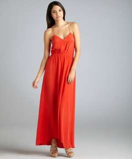 Geren Ford melon silk smocked waist v neck slip maxi dress