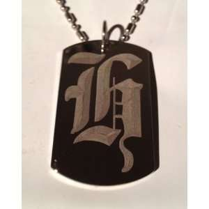 Letter H OLD English Font Initial   Military Dog Tag
