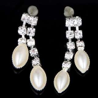 Baroque pearl setheart pendant 2 chain necklace rhinestone dangle