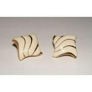 Vintage Gold Tone & Enamel Pierced Earrings