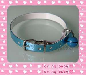 Leather Cat Pet Dog Collar With Bell X Small XS Blue