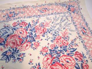 Vintage Floral Linen Shabby Country Table Cloth Chic