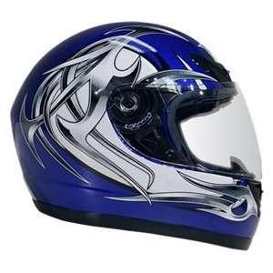 Extra Large DOT Blue & Silver Full Face Street Bike Motorcycle Helmet