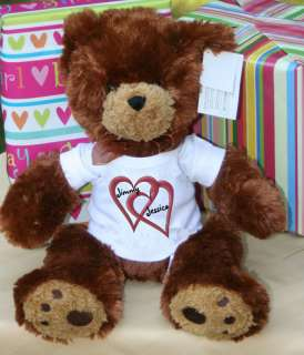 Personalized Valentines Double Heart Plush Teddy Bear