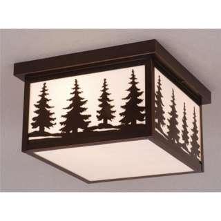 Light Rustic Tree Outdoor Flush Mount Ceiling Lighting Fixture, Bronze