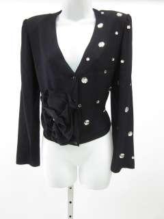SONIA RYKIEL Black Jeweled Flower Jacket Blazer Sz 40